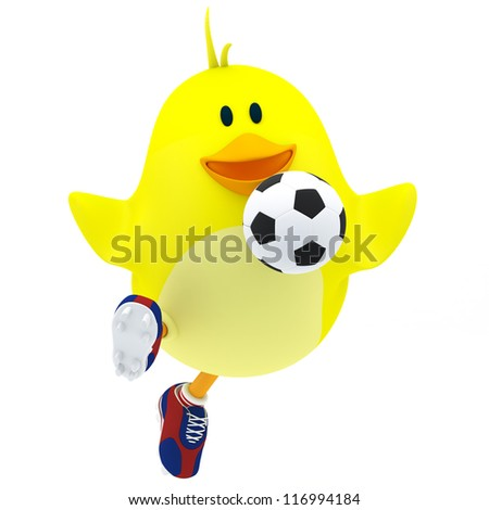 Little soccer player chick on white - 3D render - stock photo