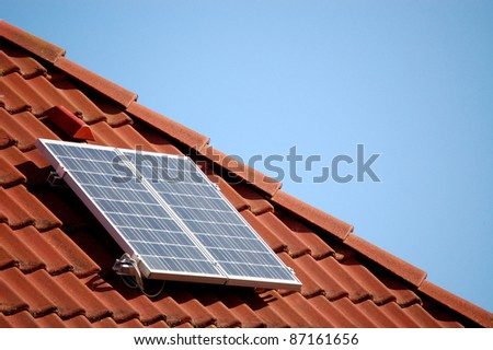 Little solar panel - stock photo