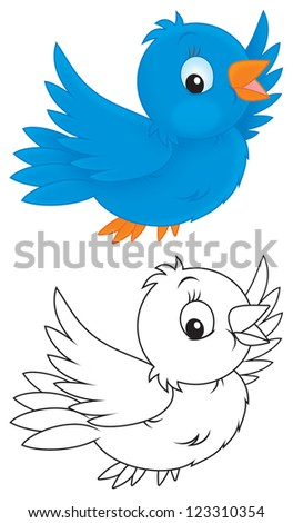 little sparrow flying, color and black-and-white outline illustrations on a white background - stock photo