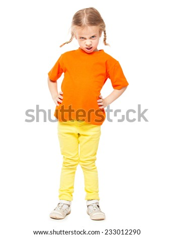 Little spoiled girl at yellow jeans. Child on white background - stock photo