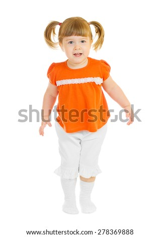 Little standing smiling girl isolated - stock photo