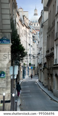 Little street in Paris - France