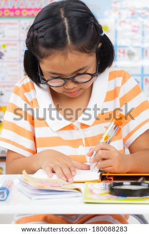 Little student girl, Education concept