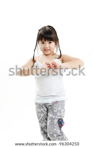 little student girl portrait smiling and posing on the white background