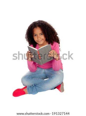 Little student girl reading isolated on a white background - stock photo