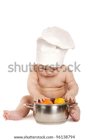 little sweet cook isolated on white background - stock photo