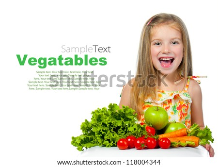 little sweet girl with vegetables with sample text - stock photo