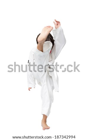 Little tae kwon do boy martial art