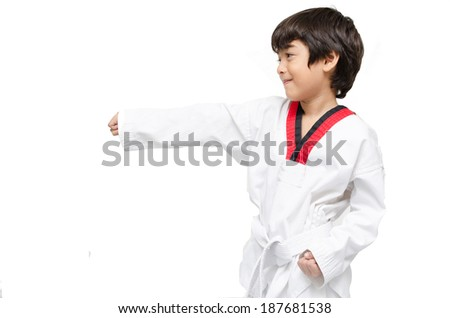 Little tae kwon do boy martial art - stock photo