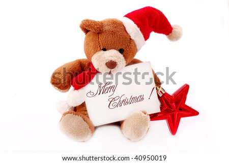 little  teddy bear holding card with christmas wishes