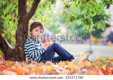 Little toddler boy, eating apple in the afternoon, sitting under apple tree, relaxing - stock photo