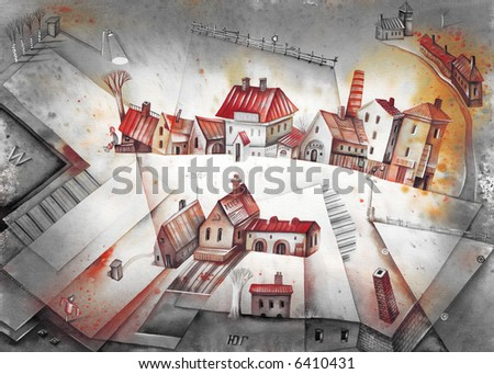 Little town and fields. Illustration by Eugene Ivanov. - stock photo