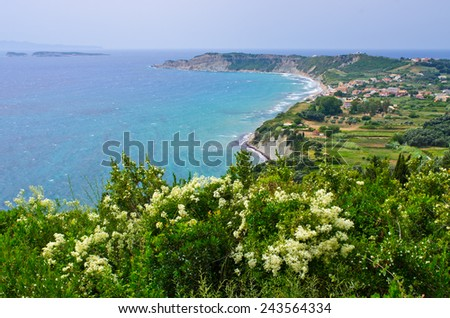 Little town Arillas on Corfu island, Greece - stock photo