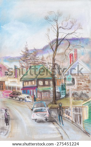 Little town near high mountains, spring , sunny day - stock photo