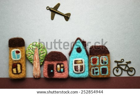 little toy houses, tree, bicycle, airplane. quarter, district. - stock photo