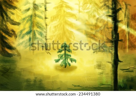 Little Tree growing in a clearing among the big trees, digital drawing, sketch - stock photo
