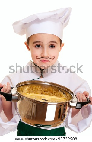 Little unhappy cook with pot of pasta isolated on white - stock photo