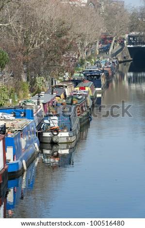 Little Venice canal boat London - stock photo