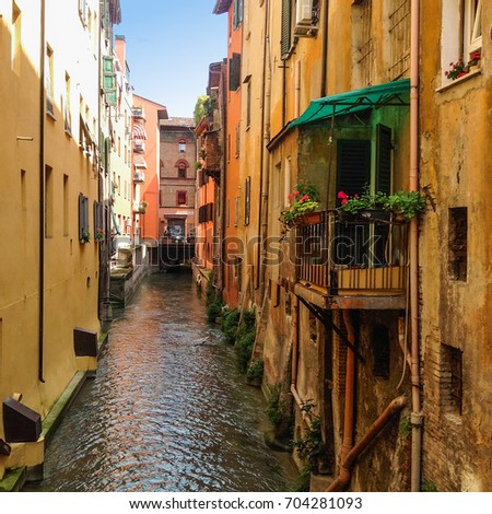 Little Venice Canal in Bologna, Italy