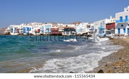 little Venice on Mykonos island in Greece - stock photo