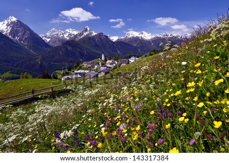 Little village surrounded by mountains and meadows of spring flowers