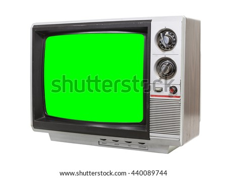 Little vintage television isolated on white with chroma green screen.