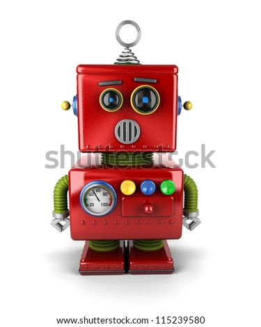 Little vintage toy robot that is surprised over white background - stock photo