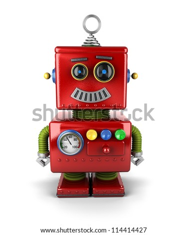 Little vintage toy robot with a smile over white background