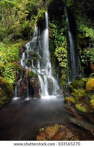 Little Waitonga Falls are part of a bigger waterfall system located along Blyth Track on slopes of Mount Ruapehu, Tongariro National Park - stock photo