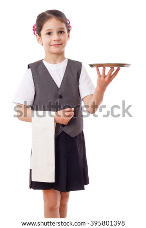 Little waitress standing with tray and towel, isolated on white - stock photo