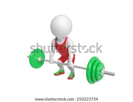 Little weight-lifter - stock photo