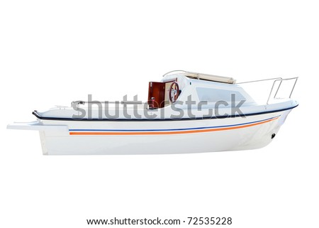 little white boat isolated