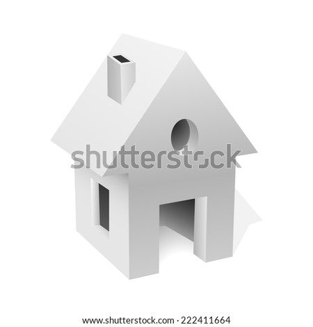 Little white house concept illustration. - stock photo