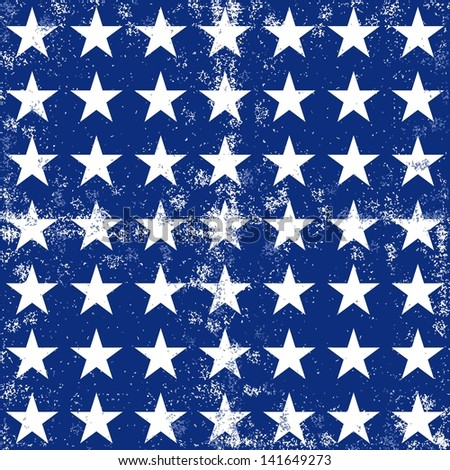 little white stars in regular horizontal and vertical rows on dark blue background grunge seamless pattern raster version