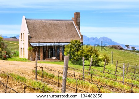 Little winemaker's house. Shot in Kuils River Winelands, near Stellenbosch and Cape Town, Western Cape, South Africa. - stock photo