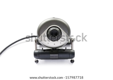 Little wired web camera on white background