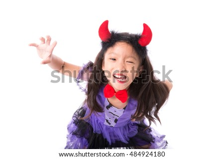 Little witch girl costume posing for halloween isolated on white background,Halloween costume girl posing isolated on white background