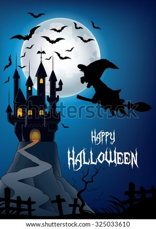 Little witch in the flying go to castle with moon and bats background