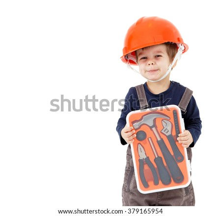 Little worker in orange helmet with tools kit isolated on white - stock photo