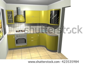 little yellow kitchen interior furniture design 3D rendering