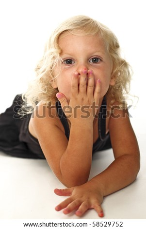little young girl portrait on white - stock photo