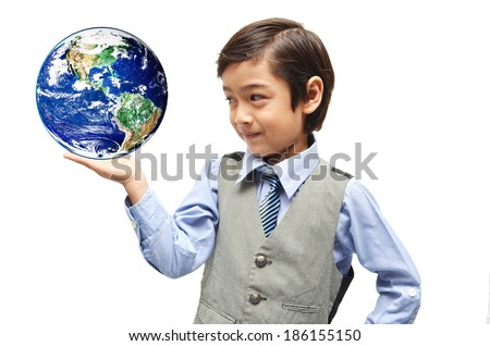 littly boy showing earth in  hand up on white background