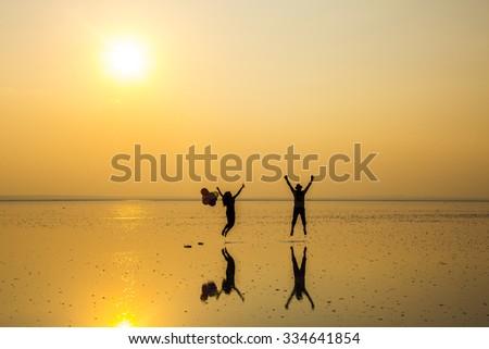 Live at sunset in Salt Lake - stock photo
