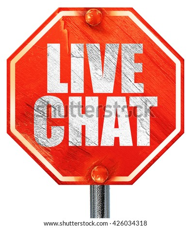 live chat, 3D rendering, a red stop sign