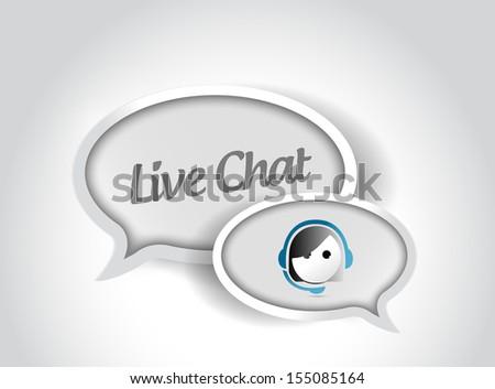 live chat message communication concept illustration design over white - stock photo