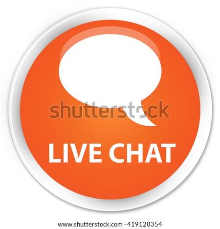 Live chat orange glossy round button - stock photo