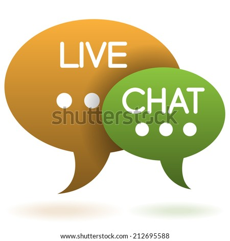 Live chat speech balloons icon illustration raster version - stock photo