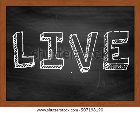 LIVE hand writing chalk text on black chalkboard