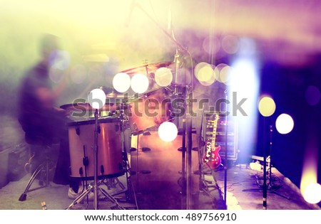 Live music and concert.Drum and stage lights.Night life background