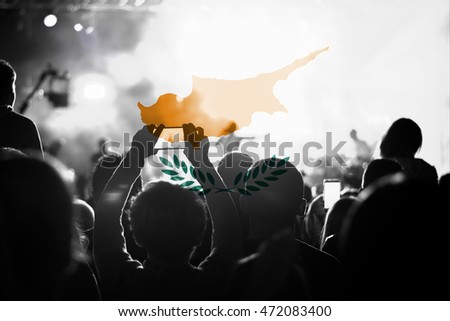 live music concert with blending Cyprus flag on fans
